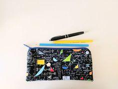 Zippered pencil pouch MATHEMATICS, maths gift, science nerd gift, teacher, students present Student Gifts, Teacher Gifts, Love Math, Science Student, Fabric Gifts, Pencil Pouch, Zipper Bags, Fabric Patterns, My Etsy Shop