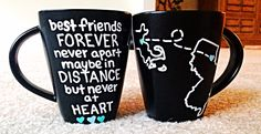 Items similar to Custom Mugs - Long Distance - States Mug - Best Friends Mugs - Black Matte Mugs - Country Mugs - Personalized Coffee Mugs (Set of on Etsy Two Best Friends, Best Friends Forever, The Fox And The Hound, Presents For Friends, Pottery Painting, Custom Mugs, Long Distance, Unique Jewelry, Handmade Gifts