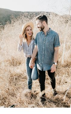 Engagement Pictures The perfect combo of casual put together for Garrison Meredith's beach//field engagement shoot in Malibu. Complete with lots of laughs, a straw hat and Leo Carillo beach--the same one as the Notebook!