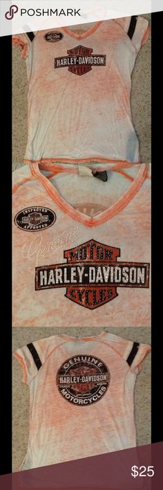 HARLEY DAVIDSON CRYSTAL BURNOUT T-SHIRT TOP sz 2XL Harley Davidson sz 2XL Crystal logo T-shirt top.  Pale orange burnout style with crystal logo, on BOTH SIDES!  Excellent condition, Gorgeous shirt.  Will ship right away.  Check out my other designer items Harley-Davidson Tops Tees - Short Sleeve