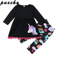 NWT Boutique COTTON KIDS Pink DALA HORSES Dress /& Leggings SET Carousel Horse