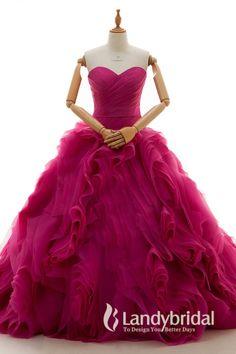 カラードレス フクシアピンク プリンセス ハートネック コートトレーン モード感のスカート お色直し サッシュベルト B14TB0016-F