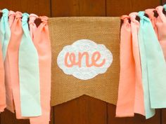 Peach and Mint Birthday Banner Highchair High by SeacliffeCottage