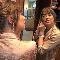 """Dakota Jonson (@dakotajohnson) adds a touch of sparkle to her look for the Golden Globes (@goldenglobes). """"Dakota Johnson carries the 'Luminance Cascade Earrings'and 'Embrace Bangles' so exquisitely; she radiates with the qualities of a Nirav Modi (@niravmodijewels) woman - playfulness effortless elegance and femininity"""" said the jeweller. via VOGUE INDIA MAGAZINE official Instagram - #Beauty and #Fashion Inspiration - Beautiful #Dresses and #Shoes - Celebrities and Pop Culture - Latest…"""