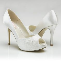 Weddings, Accessory Wedding Shoes, High Heel Peep Toe Shoes, womens dress shoes, bridal shoes, bridal accessories, dyeable wedding shoe on Etsy, $95.00