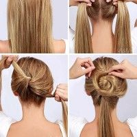 twisted bun step by step Ponytail Hairstyles Tutorial, Quick Hairstyles, Twist Pony, Easy Updos For Long Hair, Perfect Ponytail, Photo Galleries, Hair Accessories, Long Hair Styles, Beauty