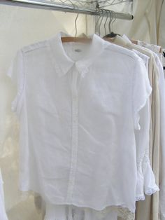 White Linen Blouse upcycled repurposed Linen Vintage by robynswing, $49.00