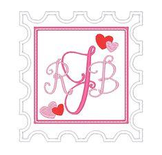 Designs :: Occasions :: Valentines Day :: Heart Stamp Monogram Frame