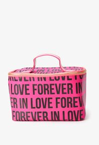 Forever In Love Cosmetic Bag  A cosmetic bag featuring an allover ''Forever In Love'' graphic. High polish zippered placket along the top. Faux patent top handle. Fully lined. Lightweight.  DETAILS:      5.25'' H x 8.5'' W x 5.0'' D     Shell: 100% nylon; Lining: 100% polyester     Imported