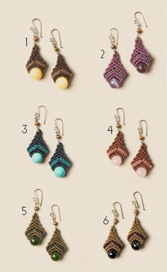 Macrame earrings with ónix, amethyst, turquoise, quartz, jade, agath, tiger eye, garnett, carnelian, amber, obsidian, venturine