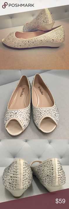 """Rhinestone and satin peep toe slight wedge Your Party Shoes NWT. Ivory satin peep toe with 1"""" wedge. Covered with multi size rhinestone. Comfortable and easy to wear. Offers welcomed!! Shoes Wedges"""
