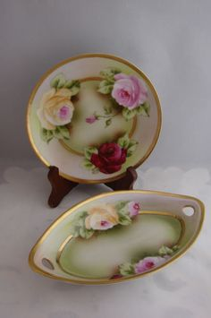 Two-Vintage-Royal-Munich-ZS-Co-Bavarian-Hand-Painted-Signed-Dresser-Set