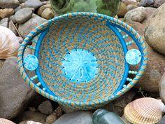 "Pine needle baskets. GiggyBaskets: Beach Baskets..."" Blue Treasure""."