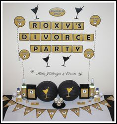Black Gold Glitter Divorce Party Personalised Party Decorations Supplies Packs Shop Online Australia Banners Bunting Wall Display Cupcake Toppers Chocolate Wrappers Water Wine Labels Posters Lanterns Invites Cup Stickers Ideas Inspiration Cake Table Katie J Design and Events Penis Pinata