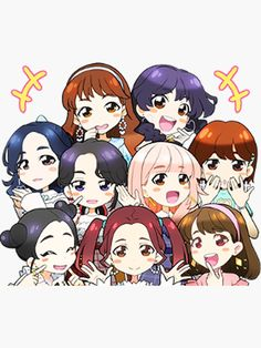 Asia's number one girl group TWICE is here with their second Japanese single, Candy Pop! Give your chats their own special pop with cute, cartoon versions of the group inspired by the song's music video. Pop Stickers, Anime Stickers, Anime Chibi, Kawaii Anime, Twice Fanart, Yoonmin Fanart, Anime Group, Candy Pop, Kpop Drawings