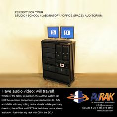 Our product is the original integrated rotating home theater rack. We made it exceptionally versatile with a castor base so facilities can roll their audio video equipment as necessary.