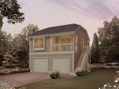 Garage Apartment Plans | 1-Car Garage Apartment Plan with Boat ...