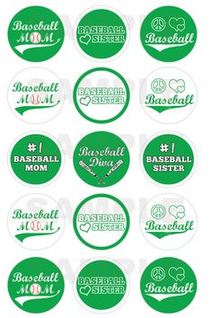 INSTANT DOWNLOAD - Baseball Bottle Cap Images - 4x6 Digital Sheet - 1 Inch Circles for Bottlecaps, Hair Bow Centers, & More on Etsy, $1.25