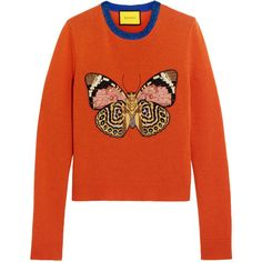 Gucci for NET-A-PORTER Embellished wool sweater (1,905 NZD) ❤ liked on Polyvore featuring tops, sweaters, gucci, orange, moth sweaters, sequin top, orange sweater, woolen sweater and butterfly top