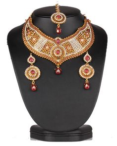 Fashion bridal polki jewelry necklace set beautifully hand crafted on a gold background with Ruby and clear polki stones-0621SMBR13  http://www.craftandjewel.com/servlet/the-1890/Fashion-bridal-jewelry/Detail