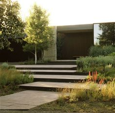 40 Ideas of How To Design Exterior Stairways - Exterior Design Modern Landscape Design, Modern Landscaping, Contemporary Landscape, Landscape Architecture, Garden Landscaping, Architecture Design, Landscape Stairs, Landscaping Ideas, Shade Landscaping