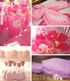One Fairy Cute Party. These decorations are so cute! I love the fairy dust bottles.