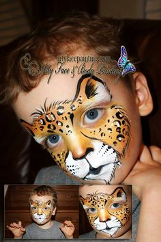 Done in gold and bronze good use for tag foxy Cheeta Face Paint, Kitty Face Paint, Cheetah Face, Face Paint Makeup, Face Painting For Boys, Face Painting Designs, Animal Face Paintings, Animal Faces, Animal Jaguar