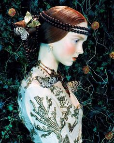 """""""Like a Painting"""" - Lily Cole by Miles Aldridge for Vogue Italia, February 2005"""