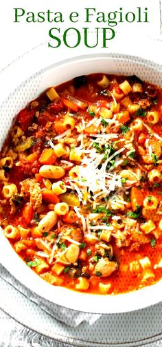 #pastabeansausagesoup #italianpastasoup #pastaefagioli ... Bean And Sausage Soup, Italian Sausage Soup, Pasta E Fagioli Soup, Pasta Soup, Soup And Salad, Chili, Health, Food, Salud