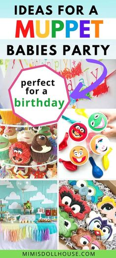 Muppet Babies Party Supplies and Ideas for a Birthday!    These Muppet Babies birthday party ideas will make your dreams come true in true muppet fashion. From simple to extraordinary, these party supplies and food ideas will inspire your creativity and turn your party into a smash hit!#muppetbabies #kermit #misspiggy #birthday #partyideas #muppetparty Birthday Party Treats, 1st Birthday Party For Girls, 1st Birthday Party Decorations, Baby Party, Baby Birthday, Disney Parties, Girl Parties, Muppet Babies, Kermit