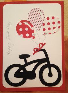 Geburtstagskarte  Scan n Cut Vorlagen Fahrrad und Luftballons