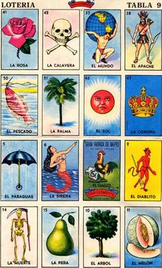 Lotería is a bingo-like game played in Mexico and the southwestern USA with a game board and a deck of 54 cards. Recently, I saw an exhibit of these cards at a local museum of Mexican folk art, and… Mexican Folk Art, Mexican Style, Mexican Crafts, Arte Peculiar, Tableaux D'inspiration, Loteria Cards, Mexican Designs, Mexican Party, Thinking Day