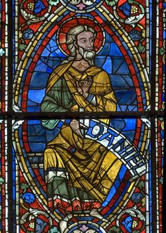 Chartres Cathedral Stained Glass -the Prophet Daniel.   Bay 141 (The Temptations of Christ / Three Prophets)