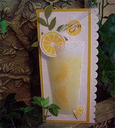 """Lemonade Anyone. Velum paper for the glass, Can make lemonade, margaritas, any frosty drink really, just lie a glass on it's side and trace. Make sure to leave a 1/4"""" fold to adhere it to the card"""