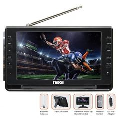 """9"""" TFT LCD screen (800 x 480) * Enjoy TV broadcasts (ATSC/NTSC tuner) * Additional external antenna for enhanced TV reception * Play multimedia files from USB and SD memory cards * Digital multimedia support: JPG, MP3, MPEG2, MPEG2_HD, MPEG4, MPEG4_SD, MPEG4_HD, H.264, FLV * 3-way power: AC power adapter, DC car adapter, and rechargeable battery * Built-in rechargeable battery provides 1.5 hours of play time * Two A/V input connectors and external antenna * Headphone jack (3.5 mm) and bu"""