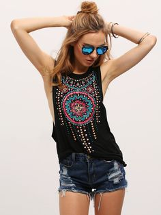 Cheap casual tanks, Buy Quality women sexy top directly from China casual tank top Suppliers: SHEIN New Summer Style Black Women Sexy Tops Round Neck Sleeveless Vintage Tribal Print Fitness Casual Tank Tops Fashion Mode, Look Fashion, Womens Fashion, Fashion 2018, Street Fashion, Fashion Brands, Fashion Beauty, Fashion Dresses, Boho Tops