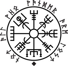 Vegvisir - Not All Who Wander Are Lost written along the outside in runes. Love it!