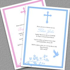 Christening/Baptism Invitation Templates For Baby Boy And Girl