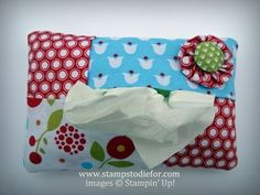 """Tissue holder made with Stampin Up fabric. Another pinner said - Made 10 of these today - fun, easy and many of you know I hate to sew! I need to change that to """"use to"""". Tissue Box Covers, Tissue Holders, Crafty Projects, Sewing Projects, Crafts To Make, Fun Crafts, Fabric Crafts, Sewing Crafts, My Sewing Room"""