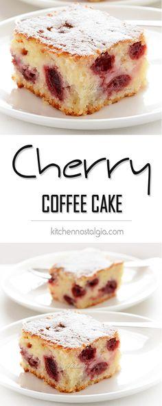 Cherry Coffee Cake - wonderfully moist, with subtle lemon flavor, sweet yogurt sponge and tart cherries. This recipe is a keeper!