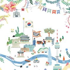 watercolor painting of Seoul Travel Illustration, Watercolor Illustration, Watercolor Painting, Korea Map, Cute Frames, Little Doodles, Korean Art, Sketch Design, Illustrations And Posters