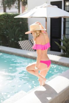 Pink Ruffled Swimsuit - Mckenna Bleu