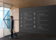 Alta Diagonal building interior sign designed for Deka Inmobilien by Clase BCN. by claire Environmental Graphic Design, Environmental Graphics, Desgin, Wayfinding Signs, Sign System, Office Signs, Signage Design, Branding Design, Information Design