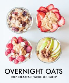 Make overnight oats to guarantee a healthy delicious start to your day!   Follow Sworkit for more inspiration on your journey to greatness! #NoGymNoExcuse