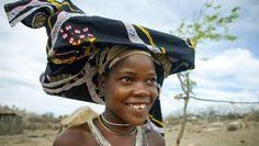 The signature Ompota headdress from Mucubal, Angola