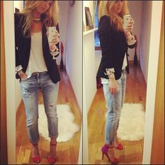 Faded Jeans + Blazer + White Tee + Color Block Heels