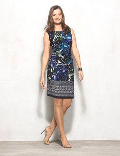 Women's Petite Palm Print Side-Ruched Knit Dress