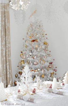 My dining room decorated for Christmas  by Torie Jayne Unique Christmas Trees, Pink Christmas Tree, Christmas And New Year, Christmas Themes, Christmas Tree Decorations, Christmas Holidays, Merry Christmas, Happy Holidays, Dining Room