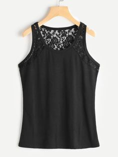 SheIn offers Floral Lace Insert Tank Top & more to fit your fashionable needs. Sewing Lace, Modelos Fashion, Lace Insert, Crop Tops, Tank Tops, Simple Dresses, Short, Diy Fashion, Floral Lace