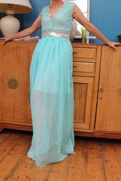 007095d972e robe longue turquoise dos nue princesse dentelle sexy TL 40-42